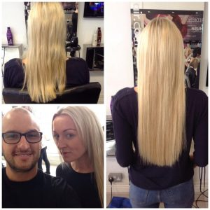 extra length and volume with micro bead extensions at Hush Hair Salon, Birmingham